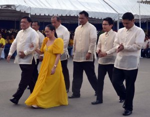 "SOPA's Ceremonial Walkthrough.  Pangasinan Governor Amado T. Espino, Jr.  is joined by the new members of the provincial board in the ceremonial walkthrough prior to his report on the state of the province last February 10 at the Capitol Plaza  in Lingayen.  Assisting the Governor are (from left, back row): Board Members Liberato Villegas, Antonio Sison, Nikki ""Boy"" Reyes, Angel Baniqued, Jr., Amado Espino,  III and Shiela Perez."